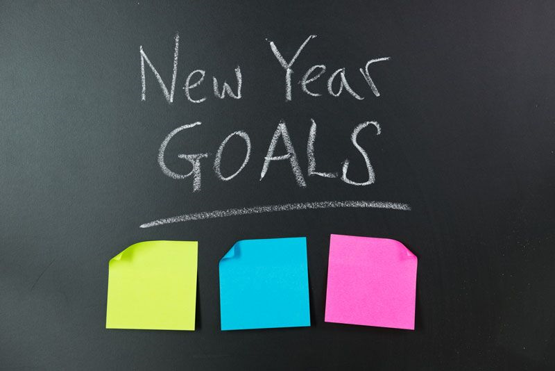 new year's resolutions on sticky notes, grow your business this year